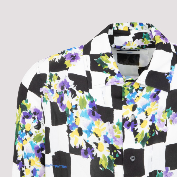 Off-White Checked print shirt with floral details