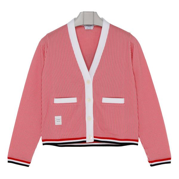 Pink Sequin Icon Seersucker Cardigan