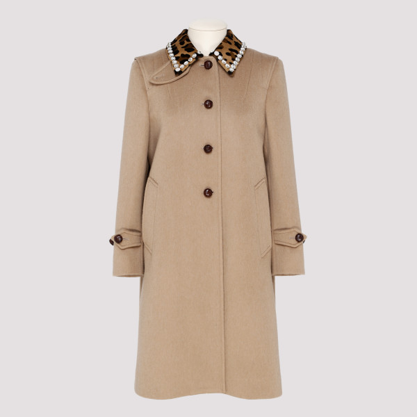 Camel jewel neck Wool coat