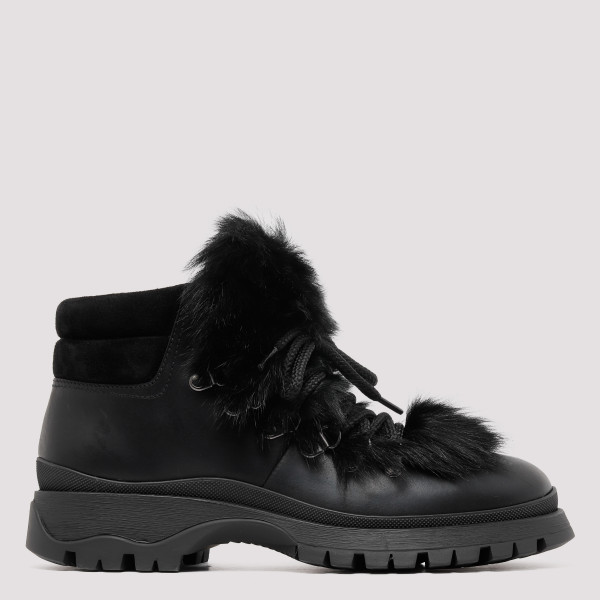 Black Leather Boots with Fur