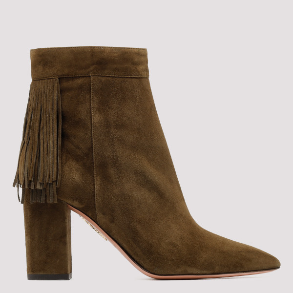 Brown Suede Fringed Boots