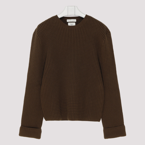 Military Green Waffle-knit...