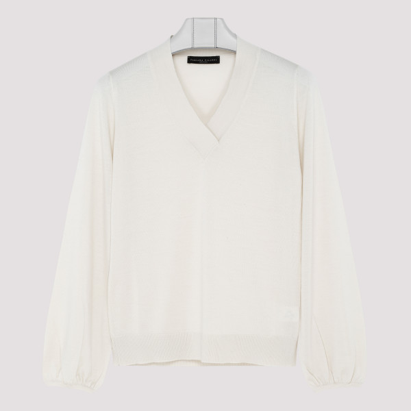 White Wool V-neck jumper
