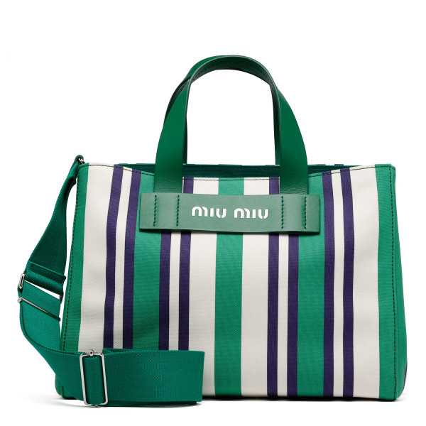 Green Striped canvas shopper bag