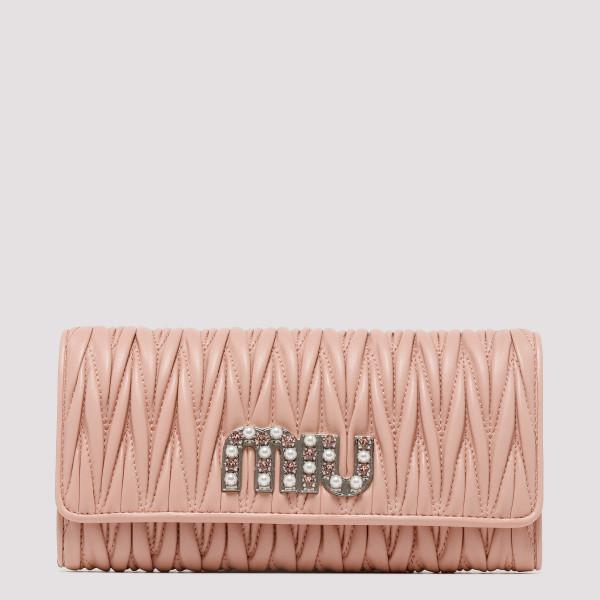 Pink Matelassé nappa leather wallet