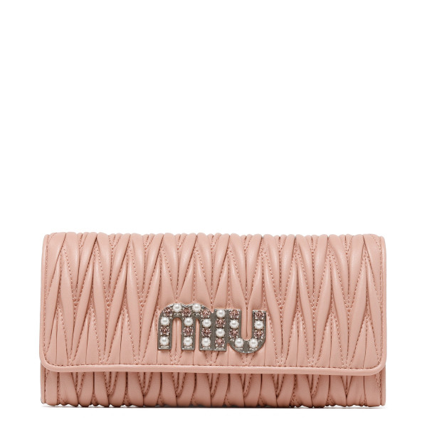 Pink Matelassé nappa leather wallet