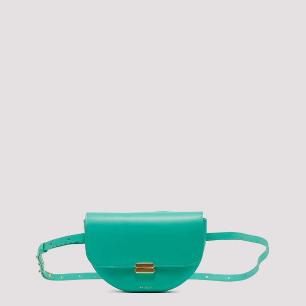 Green leather Anna belt bag