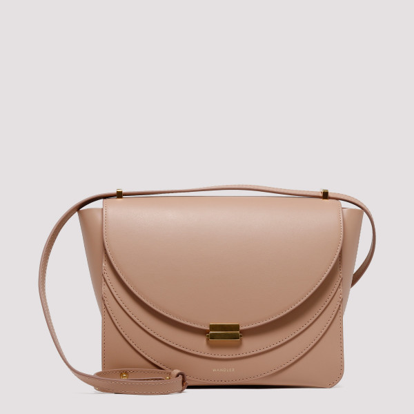 Luna nude leather shoulder bag