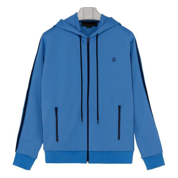 Light blue cotton blend zipped sweatshirt