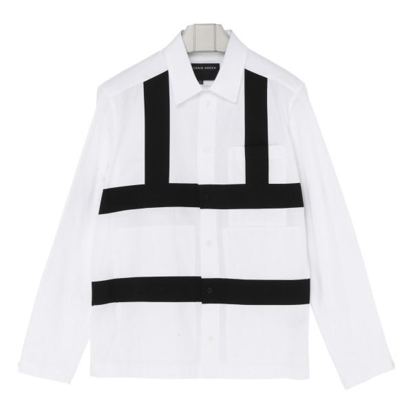 White cotton shirt with black stripes