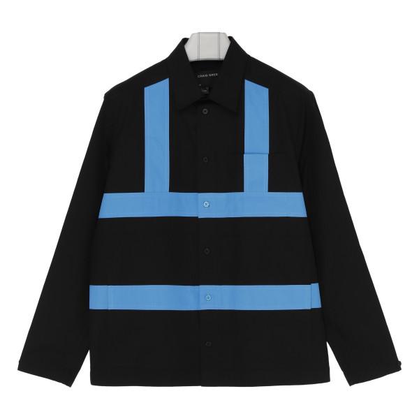 Black cotton shirt with blue stripes