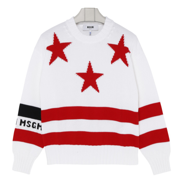 White sweater with red stars