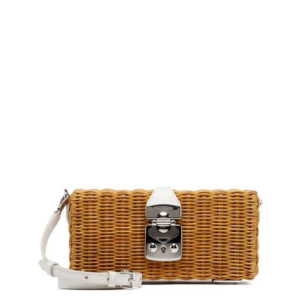 Wicker clutch with white leather detail