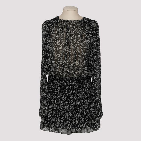Paisley-printed silk georgette smocked dress