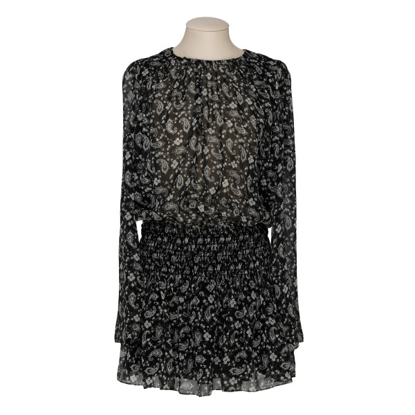 Paisley-printed silk georgette smocked dress