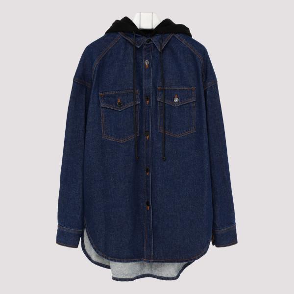 Navy Denim Hooded Shirt