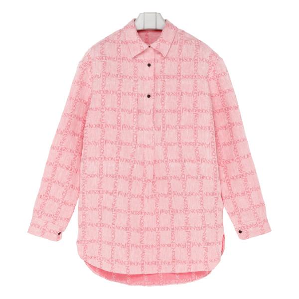 Pink logo print oversize linen shirt