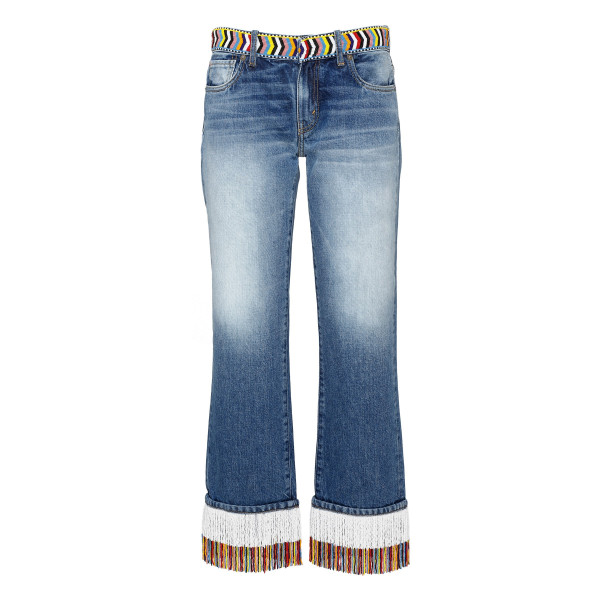 Blue boyfriend jeans with beads