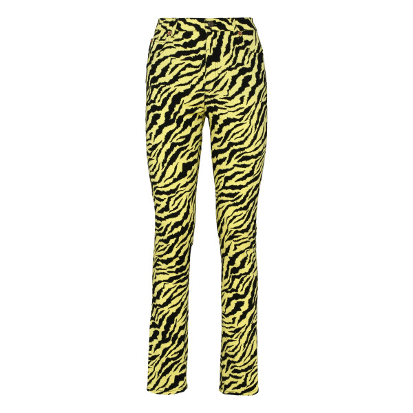 Animalier denim skinny pants