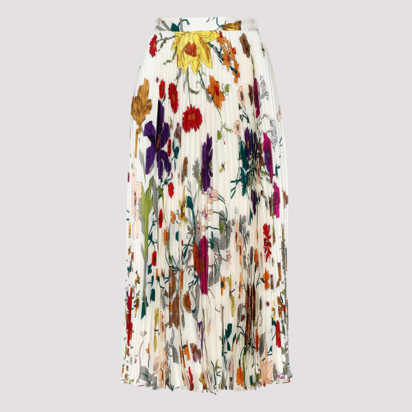 Long silk pleated skirt