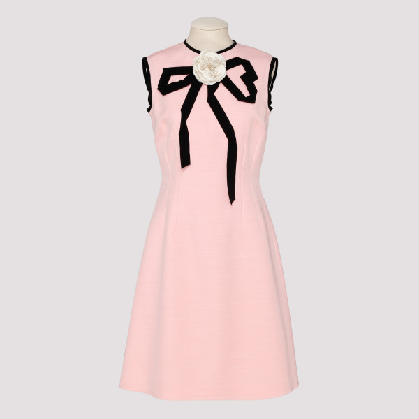 Pink sheath dress with bow