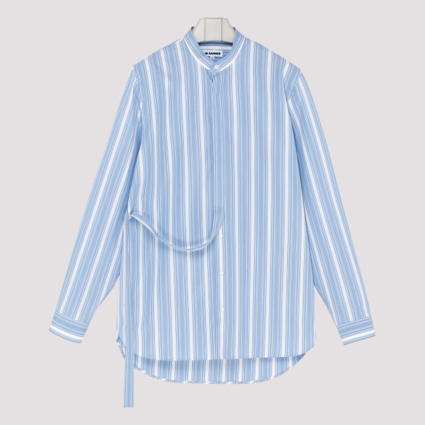 Blue and white striped silk...