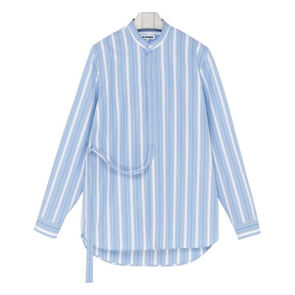 Blue and white striped silk shirt